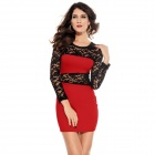 LC2738-3 Fashionable Sexy Hollow out Lace Insert Package-hip Dress - Red + Black (Free Size)