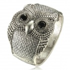 eQute BSSW110T1C1 Vintage Wide Owl Women Bracelet - Antique Silver + Black