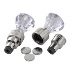 Multi-colored Bike Car Motorcycle Wheel Tire Valve Caps Light - Transparent + Silver (3 x AG10)