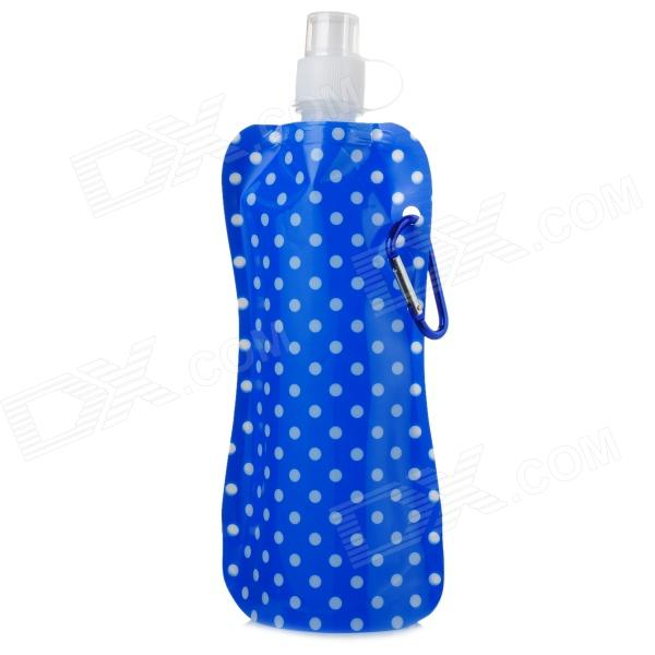 Portable Folding Outdoor PE Water Bottle Bag w/ Carabiner Clip - Blue + White (450ml)