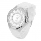 Sunflower Form Dial Zinc Alloy Silikonhülle Band Quarz Analog Armbanduhr für Frauen - White