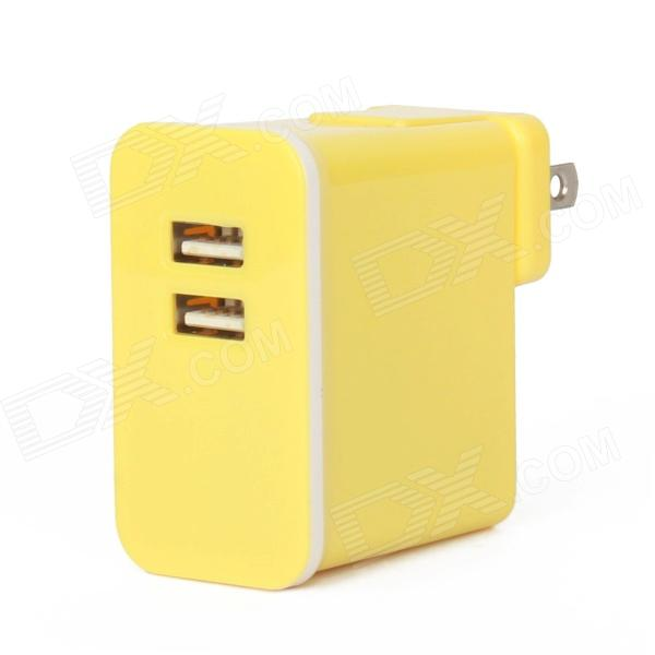 E-103 Dual USB AC Power Charger Adapter for Ipad / Iphone / Ipod - Yellow (US Plug / 100~240V) ноутбуки