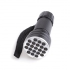 D12 Portable 21-LED 1-Mode Violet Germicidal Flashlight - Black (3 x AAA)