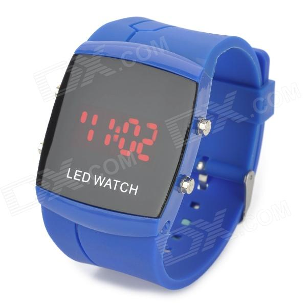 072101 Waterproof Rectangle Dial Plastic Digital Analog Wrist Watch w/ LED - Blue (1 x CR2032)