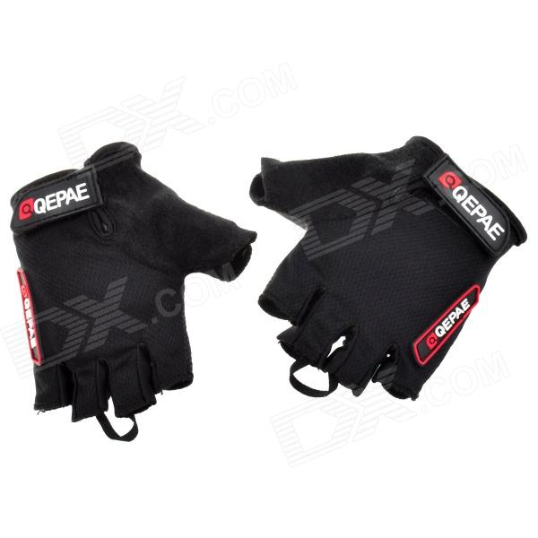 QEPAE F035 Outdoor Cycling Anti-Slip Half Finger Protection Glove - Black (Size L)