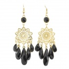 Retro Style Waterdrop + Hollow Carved Flower Dangle Earrings for Women - Black + Golden (Pair)