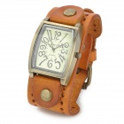 JINGYI Rectangle Zinc Alloy Fall PU-Band Quarz Analog Armbanduhr für Frauen - Brown + Bronze
