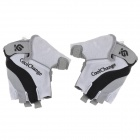 CoolChange Cycling Mesh Warm Half-finger Gloves - Black + White + Grey (Size L / Pair)
