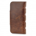 Casual Split Leather Money Long Wallet for Men - Coffee