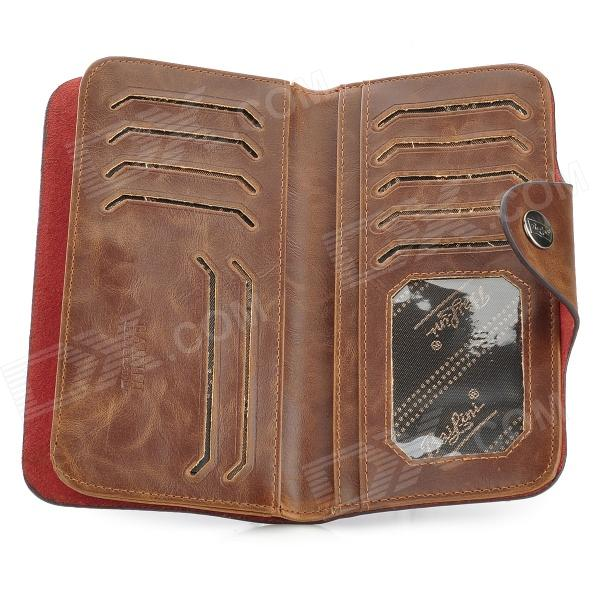 casual split leather money long wallet for men coffee free shipping dealextreme. Black Bedroom Furniture Sets. Home Design Ideas