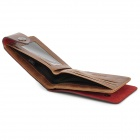 Casual Folding Split Leather Money Wallet for Men - Coffee