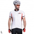 RUSUOO R10002 Outdoor Cycling Short Sleeve Dacron Jersey for Men - White + Black + Red (Size XL)