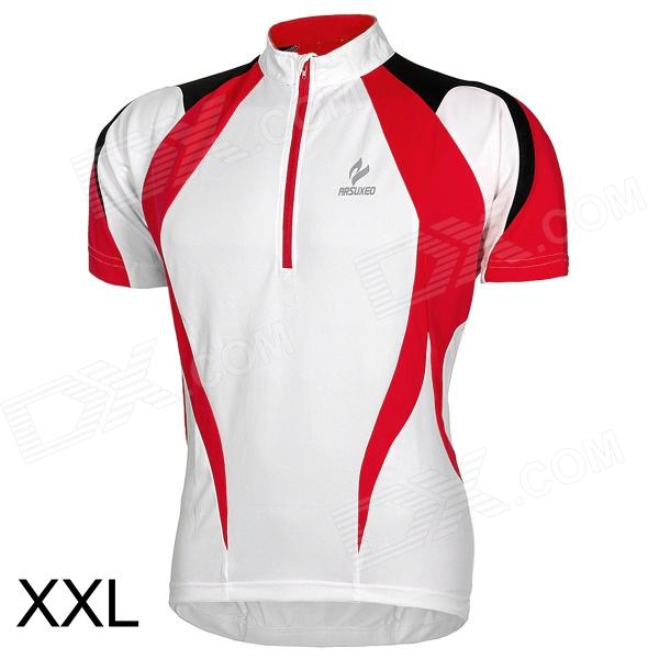 ARSUXEO AR13D3 Quick-drying Cycling Polyester Jersey for Men - Red + White + Black (XXL) arsuxeo ar13d3 outdoor sport quick drying cycling polyester jersey for men red white black l