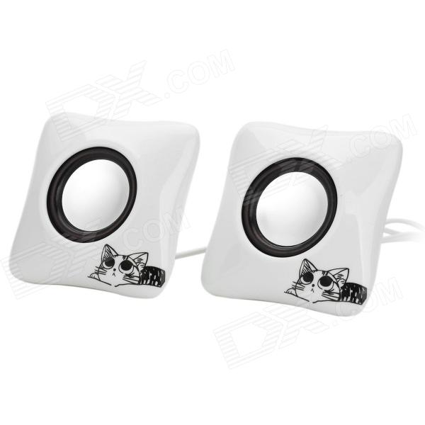 Фото XiaoKe S186 Cat Pattern USB Powered 2-Channel Speaker - White + Black + Silver barrow g1 4 white black silver multicolor cd pattern composite water cooling blank nozzle plug tlcdt v1