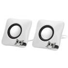 XiaoKe S186 Cat Pattern USB Powered 2-Channel Speaker - White + Black + Silver