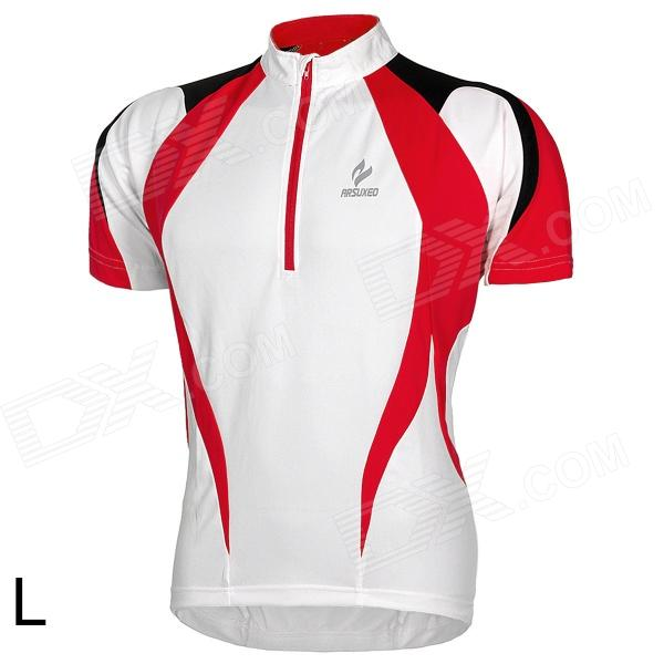 ARSUXEO AR13D3 Outdoor Sport Quick-drying Cycling Polyester Jersey for Men - Red + White + Black (L) arsuxeo ar13d3 outdoor sport quick drying cycling polyester jersey for men red white black l