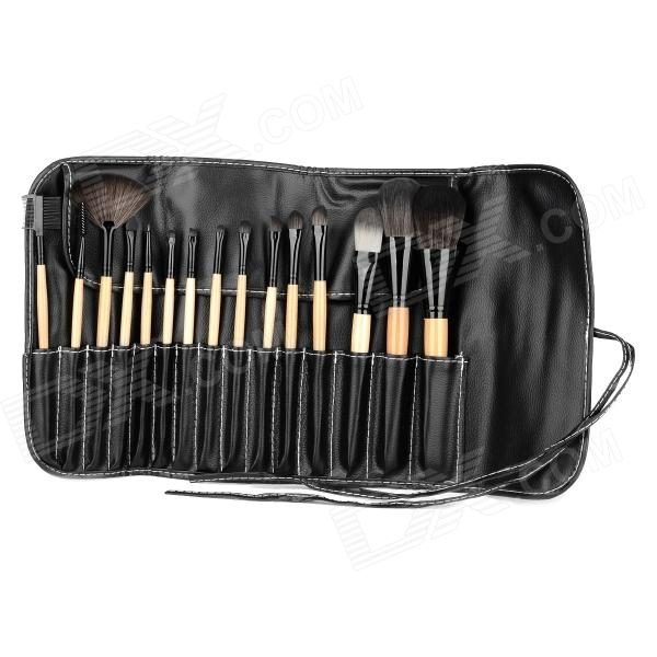 Professional 15-in-1 Cosmetic Makeup Brushes Set - Black