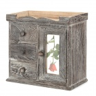Retro Wardrobe Style Platane Wood Cosmetic Storage Case - Grey