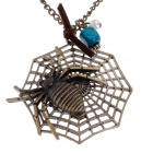 Retro Cool Spider Pendant Sweater Necklace - Bronze
