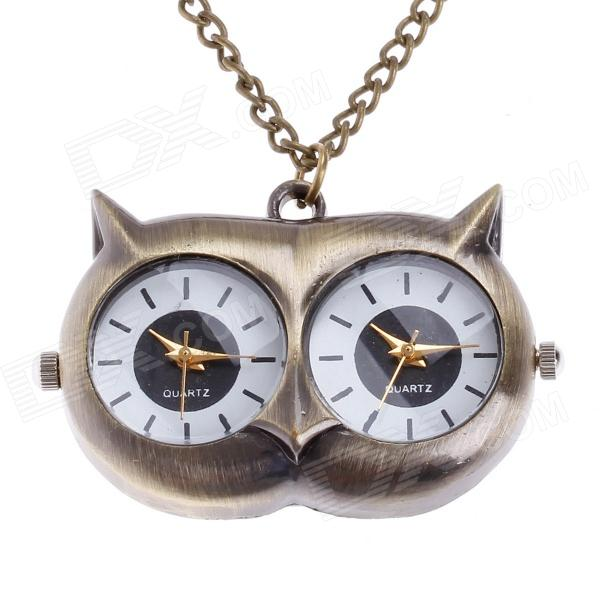 Cute Owl Pendant Chain Necklace Dual-Dial Quartz Pocket Watch - Bronze (80cm-Chain / 1 x LR626) vintage bronze train locomotive quartz pocket watch creative green dial men women pendant gift with necklace fob chain watches