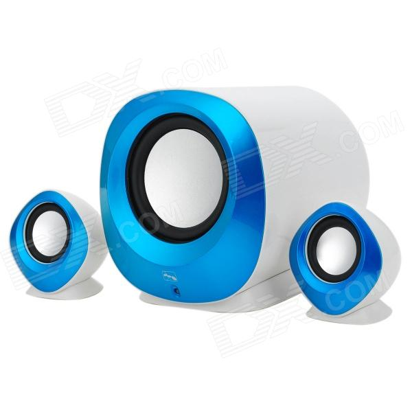 XiaoKe S81 USB 2.0 Wired 2.1-Channel Bass Speaker Set for Computer - Blue + White + Silver