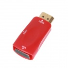 E-126 Mini HDMI Male to VGA Female + 3.5mm Audio Jack Adapter - Red