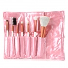 7-in-1 Cosmetic Makeup Brushes Set - White + Orange Red
