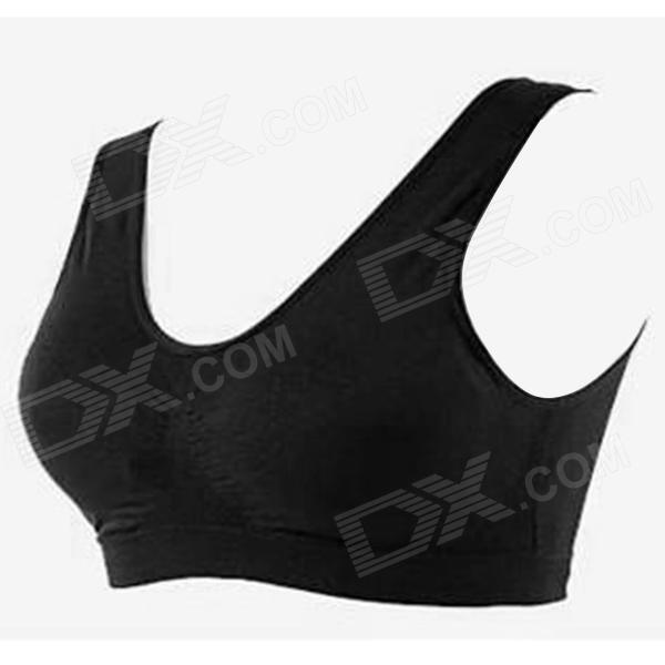 ZEA-WX-1 Polyamide + Spandex Seamless Wireless Underwear Bra for Women - Black (XXL)