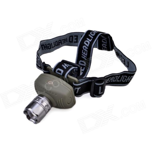 TK17 100lm 3-Mode Zooming Headlight w/ Cree XP-E Q5, Adjusted Headband - Army Green + Grey (3 x AAA)