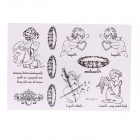 MS-K013 Angel Pattern Fashionable Temporary Tattoo Sticker - Black
