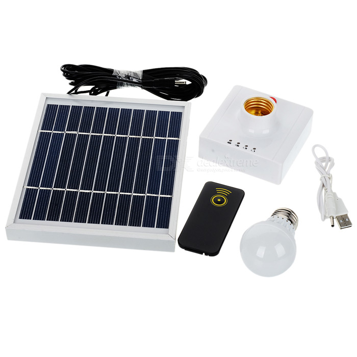 SL031 2-in-1 3W Solar Power Charger / Camping Tent Light - Black + White