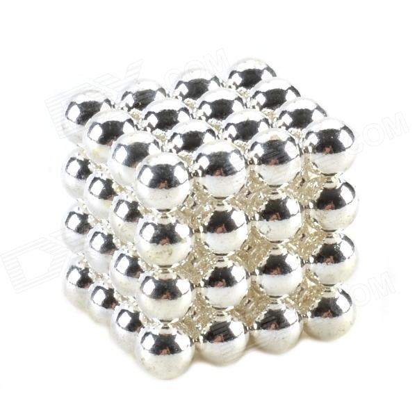 CHEERLINK ZD-64 5mm Neodymium Iron DIY Educational Toys Set - Silver (64 PCS) cheerlink xb 01 3mm diy magnet balls neodymium iron educational toys set silver white 432 pcs