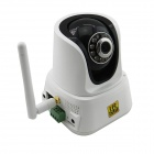 "LAB HI8801 1/4 ""CMOS 1.0 MP Wireless Netzwerk-Kamera w / P2P / RJ45 / 10-IR LED - White + Black"