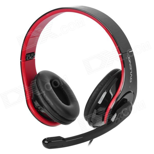 OVLENG Q8 USB 2.0 Headband Stereo Headphone w/ Microphone for Computers - Black + Red chenyun cy 726 usb headband headphone w microphone control red black