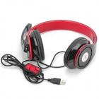 OVLENG Q8 USB 2.0 Headband Stereo Headphone w/ Microphone for Computers - Black + Red