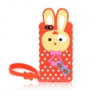 Cute Rabbit Style Protective Silicone Back Case w/ Hand Strap for Iphone 5 - Red + Yellow