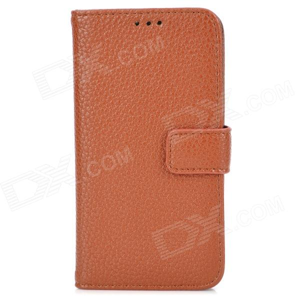 Protective PU Leather Flip Open Case for Samsung S4 Mini / i9190 - Brown