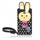 Cute Rabbit Style Protective Silicone Back Case w/ Hand Strap for Iphone 5 - Black + Yellow