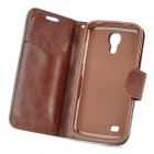Protective Jean + PU Leather Case for Samsung Galaxy S4 Mini - Blue + Brown