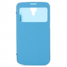 Protective Flip-open Plastic + PU Leather Smart Case for Samsung Galaxy Mega i9200 - Blue