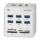 ORICO 3H6C-SV  6-Port USB 3.0 Hub + MS / XD / M2 / TF / SD Memory Card Reader - Silver