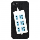 Stylish Extension Socket Decorative Protective Plastic Back Case for Iphone 5 - Black + Blue + White