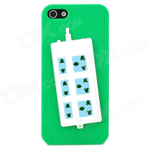 купить Stylish Extension Socket Decorative Protective Plastic Back Case for Iphone 5 - Green + Blue + White недорого