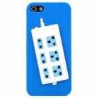 Stylish Extension Socket Decorative Protective Plastic Back Case for Iphone 5 - Blue + White