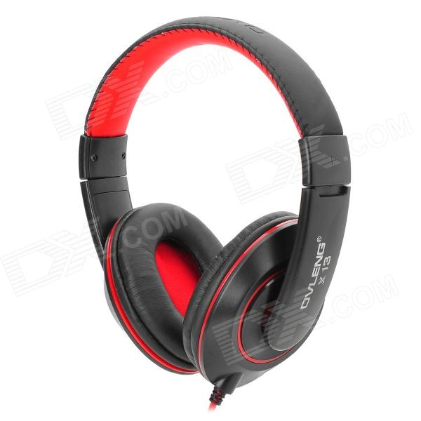 OVLENG X13 3.5mm Jack Headband Stereo Headphone w/ Microphone - Black + Red deppa blue 72