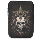 Protective Skull Pattern PU Leather Plush Pouch Bag for Ipad MINI - Black + White