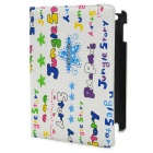 Niedliche Cartoon Figuren Pattern drehbarer Protective PU Leather Case für iPad 2/3/4 - Grün