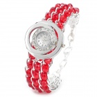 Woman's Stylish Rhinestone Bead Wrist Band Crystal Inlaid Dial Quartz Analog Wrist Watch (1 x 377)