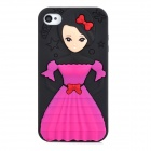 Protective Doll Lady Pattern Silicone Back Case for iPhone 4 / 4S - Red + Deep Pink