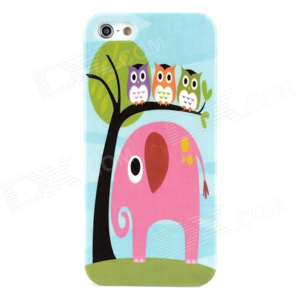Protective Scrawl Owl / Elephant Pattern Plastic Back Case for Iphone 5 - Colorful colorful feather pattern protective plastic case for iphone 5